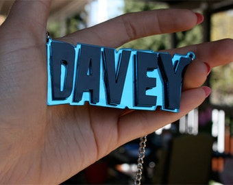 Custom Samhain/ Danzig Font Name Plate Necklace (1-7 letters) Laser Cut Acrylic