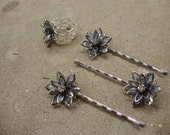 Blue flower with Rhinestone Center Hair Clip and Adjustable Ring Set