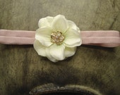 Beautiful Beige Flower on a Soft Pink Headband for Newborns, Toddlers and Adults