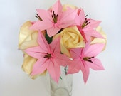 Pink Lilies & Cream Roses Origami Bouquet