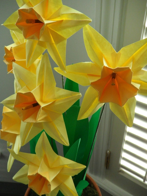 Items Similar To Origami Paper Daffodils On Etsy