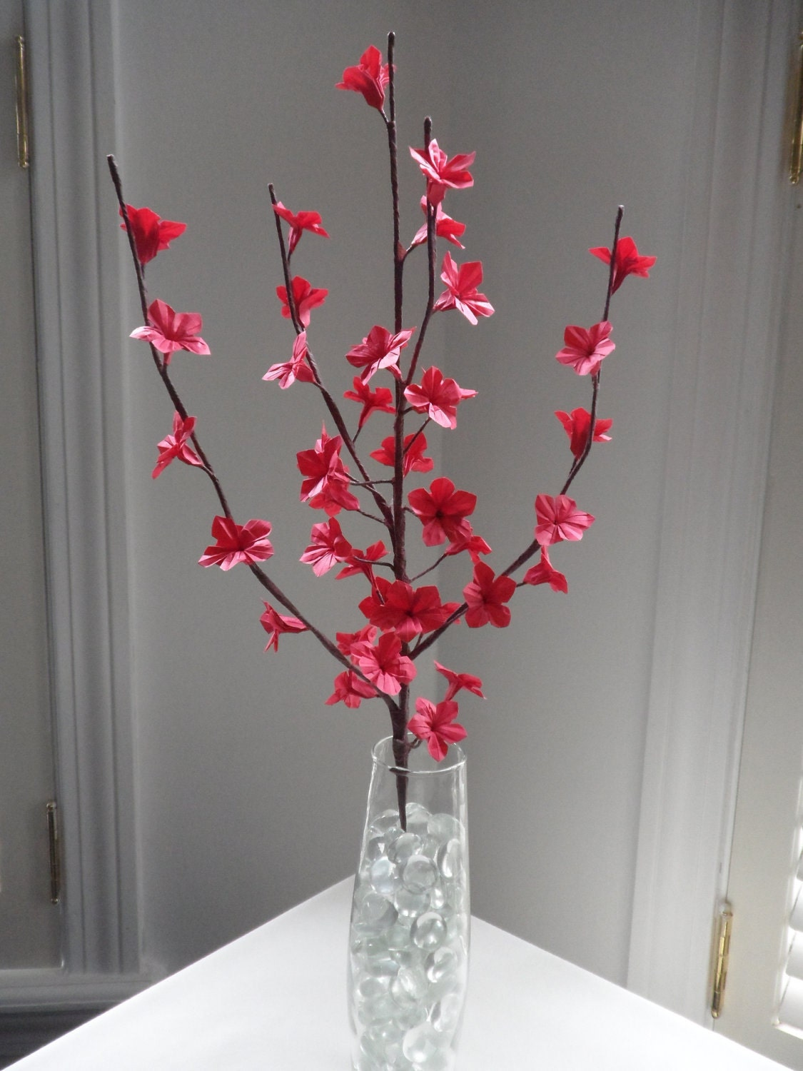 Origami Paper Cherry Blossom Flowers-Red - photo#39