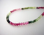 """AAA Multi-Tourmaline Faceted Cones, 14"""" Strand w/160 Beads, Vivid Pink, Green and Rubellite Hues, 2 to 4 MM, 39.5 Cts."""