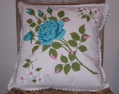 RESERVED - Vintage Handkerchief Pillow Cover, Big Blue Rose