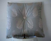 Decorative Handmade Pillow with Gold Metallic Covered Button- Paisley, Grey Green, Living Room, Bedroom