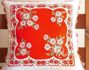 Handmade Pillow Cover with Vintage Handkerchief Decoration, Decorative Pillow Cover, White Poinsettias, Vintage Hankie