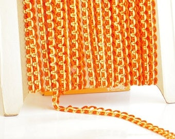 6 yd. Piece, Vintage Woven Braid,1960, Rope, Trim, Sewing Project, Orange with Yellow