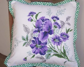 Handmade Pillow Cover, Easter Gift, Vintage Tablecloth, Purple Flowers Bouquet, Mother's Day Gift