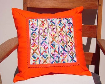 Handmade Decorative Pillow Cover, Vintage Embroidered Trim in Tangy Tangerine Color, Designer Pillow, Contemporary Decor