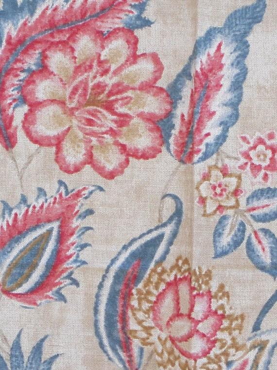 Decorative Fabric - Large Piece - English Modern Floral Linen