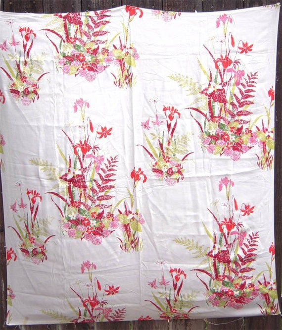 Mid-Century Textile, Drapery Panel, Wall Hanging, Pillows, 1950's Design of Tropical Flowers