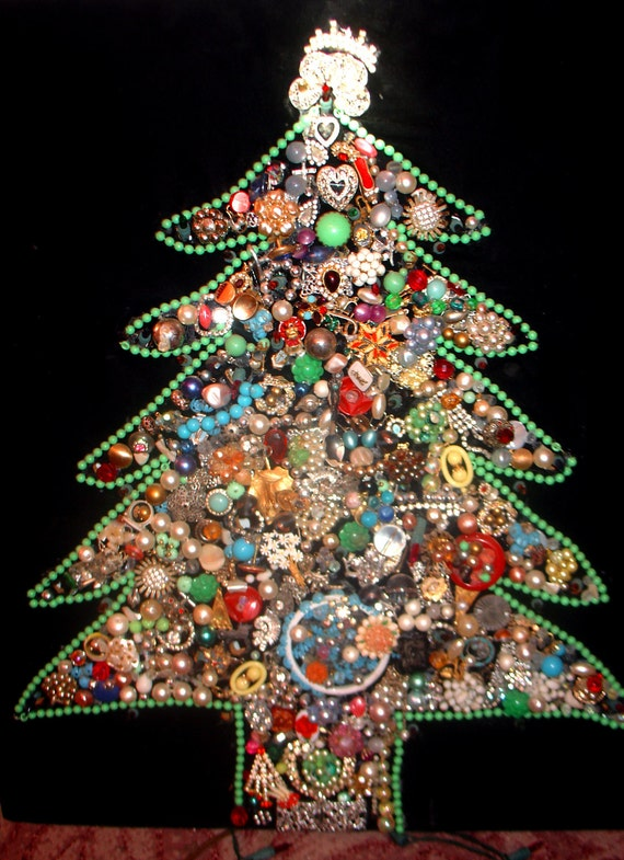O Christmas Tree Vintage Rhinestone Costume Jewelry