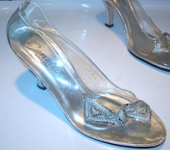 CINDERELLA. Vintage 50s Transparent METALLIC Silver & Rhinestone PUMPS Heels. Swing Dance. Party Shoes. Mad Men. Rockabilly