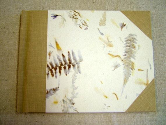 Hand-bound watercolor sketchbook--pressed leaves & flowers