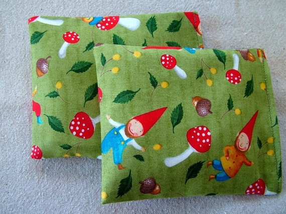 Natural cherry stone heating pad/cold packs--Set of two minis