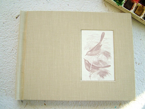 Hand-bound watercolor sketchbook--full cloth with inset bird print