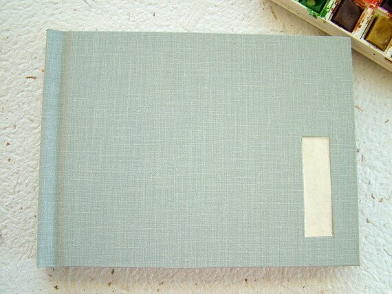 Pocket watercolor sketchbook--cloth case with inset vellum label