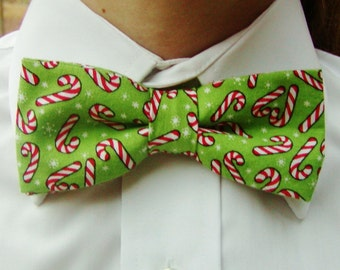 Candy Cane Green Mens Bow Tie