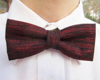 Black Mens Bow Tie Shot with Red Lame'