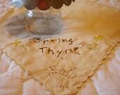 Vintage Primitive Spring Thyme Stitchery Linen Doily Candlemat