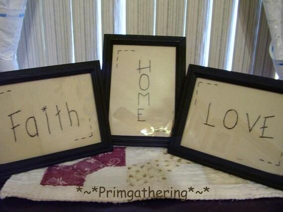 Faith, Home, Love   Framed Stitchery Primitive Country Decor