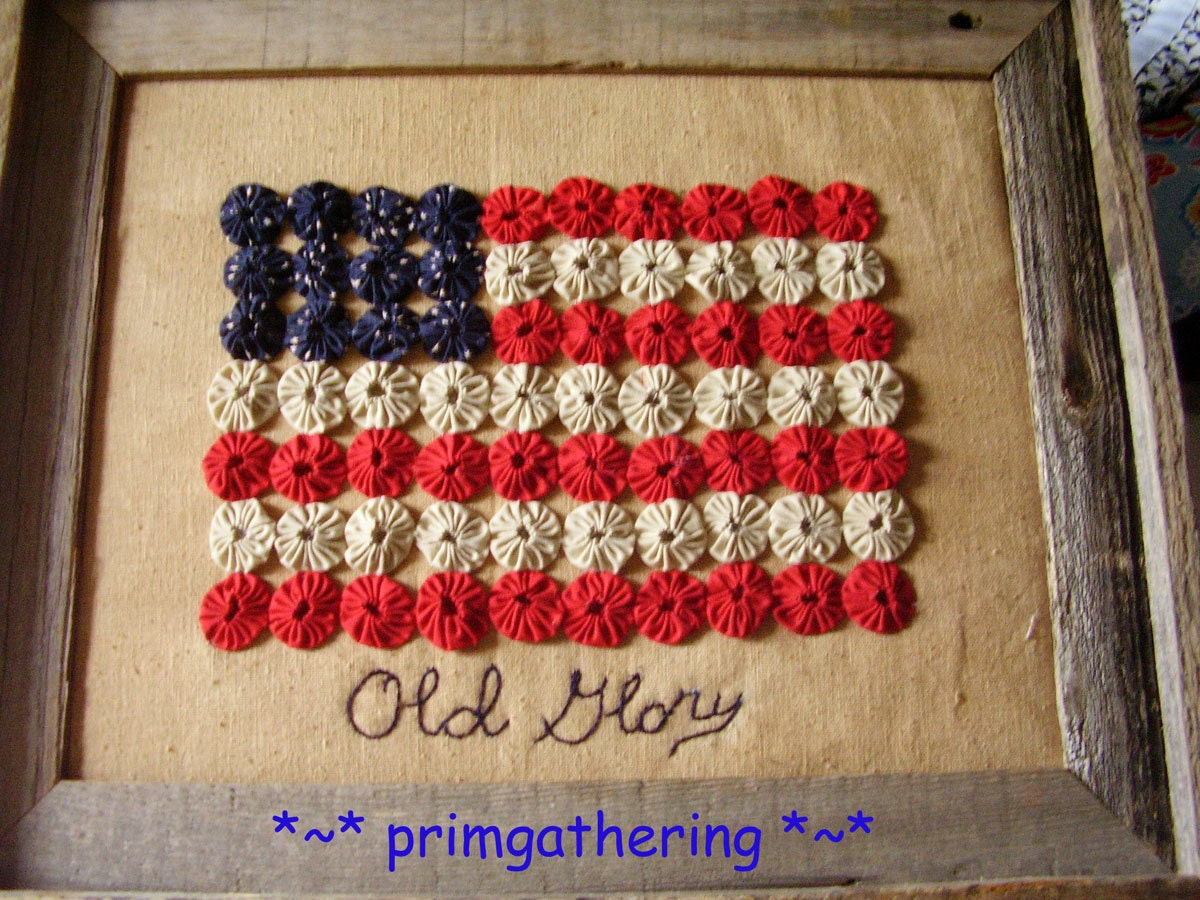 Barnwood framed americana yo yo flag primitive country for Americana crafts to make