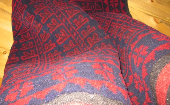 Vintage Hand Knotted Herati Tribal Rug w Hand Woven Kilim Ends from Afghanistan
