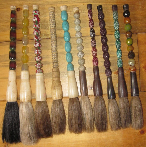 RESERVED Jsacche 1  Lot of 5 Chinese Calligraphy Brushes made of bone, horn, jade, agate, stone, and  cloisonne