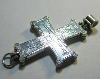 Silver reliquary cross (enkolpion) from medieval Russia