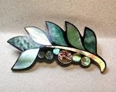 Inlaid Plastic Abalone Pin Brooch 4