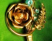 Vintage Signed Blue Rhinestone Rose Brooch Pin