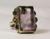 Vintage Sterling Silver Amethyst Crystal Ring R4