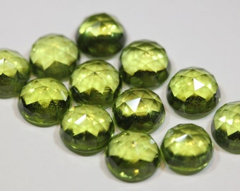 6mm Rose Cut Peridot - 1 Cab
