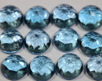 5mm Fancy Rose Cut Swiss Blue Topaz - 1 Cab