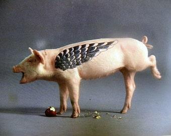 Artemis The Tattooed Pig Postcard - Humorous
