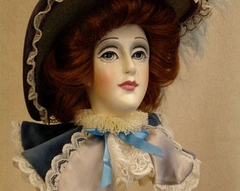 Victorian Bonnet Lady in Blue / price reduced