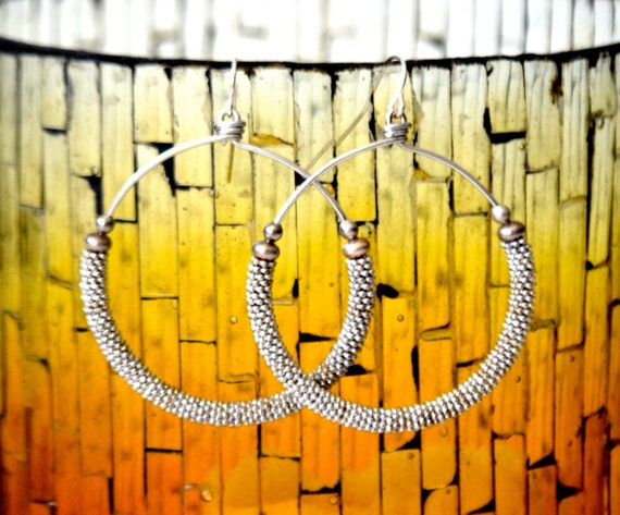 Silver Sparkle Hoop Earrings