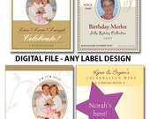 DIY Printable Wine Labels Digital file, ANY DESIGN: Fronts Only or Front/back 'set'. Weddings, birthdays, any design of LifeInspires' shop
