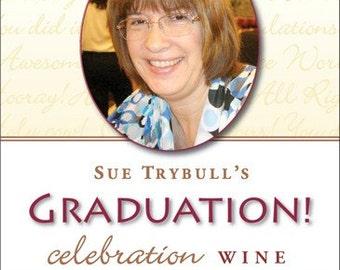 Congratulations Graduate Wine Label 1 Set, Front AND Back labels, with Photo