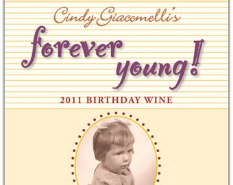 Birthday Wine Label 1 set, Front AND Back labels with Photo - 'Forever Young'