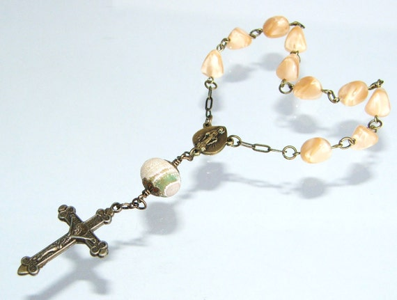 Our Lady of Grace Pocket Rosary in Caramel Glass & Aged Brass