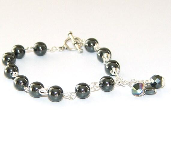 Recovery or Sobriety Bracelet, Hematite & Silver