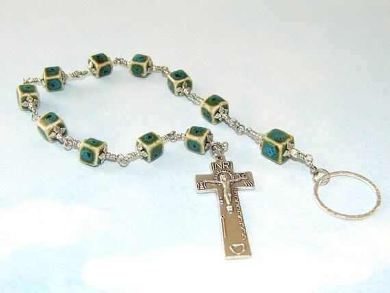 Irish Penal Rosary, Porcelain & Pewter with Irish Penal Crucifix