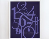 16x20 NUMBERS print : Palette No. 59 indigo purple