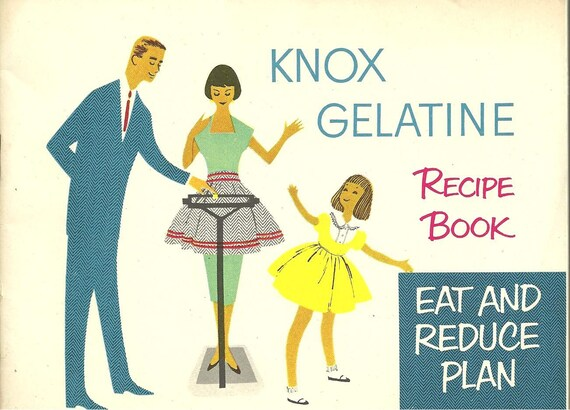 1952 Vintage Cookbook Knox Eat and Reduce Plan Recipe Book Advertising Cook Book