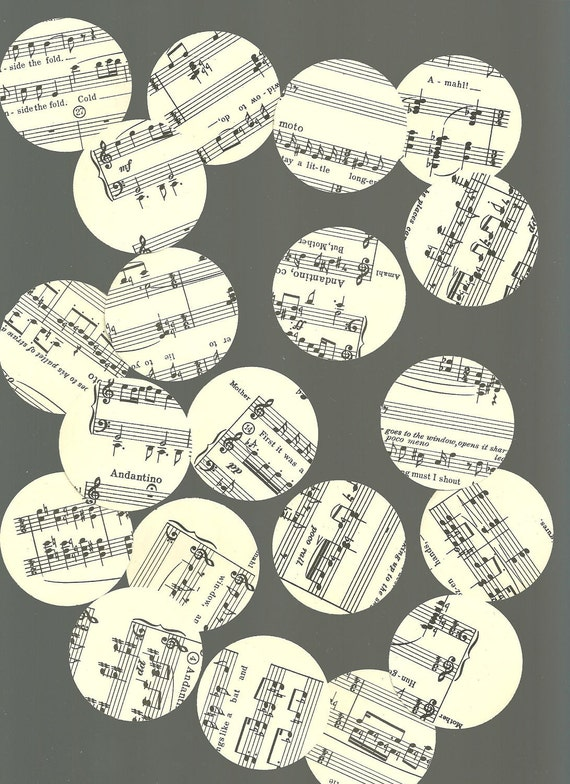 Vintage Sheet Music Circle Paper Punches 100 Pieces