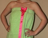 Towel Wrap Spa Wrap Lime Green with Pink Ribbon and Hanging Loops--READY TO SHIP--Wonderful Christmas Gift--Great for Bath & Beach
