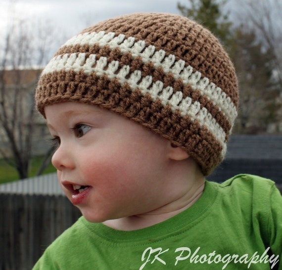 Crochet Hat Boys Beanie--Size 1-3 Years--READY TO SHIP in Light Brown with Ecru Stripes--Wonderful Gift or Photo Prop