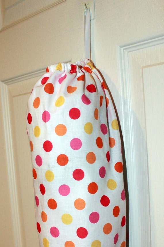 Fabric Plastic Grocery Bag Holder Dispenser--White with Pink, Red, Yellow, and Orange Polka Dots--Wonderful Gift