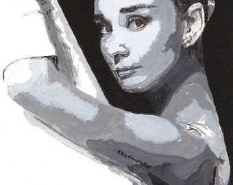 Audrey Hepburn - A4 A3 or A2 Size Limited Edition Print of my original watercolor painting direct from RussellArt